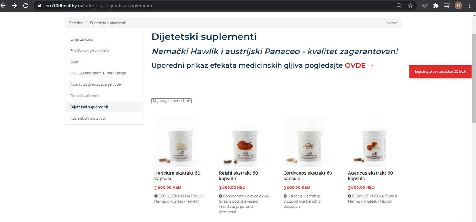 Preglednost proizvoda pro100healthy